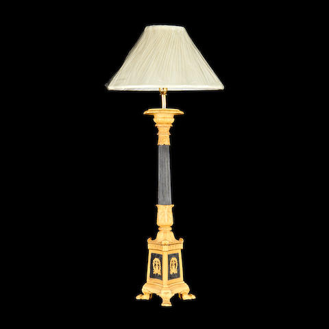 A gilt and patinated metal lamp base