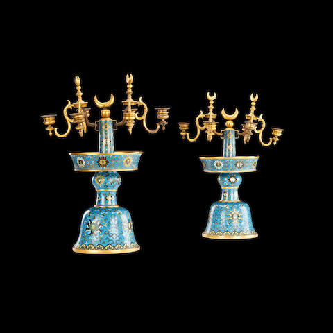 A pair of French cloisonné enamel candelabra for Turkish market