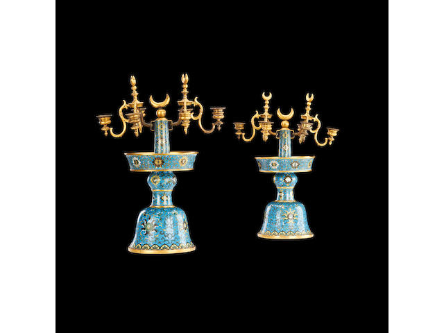 A pair of French late 19th/early 20th century cloisonné enamel candelabramade for the Turkish market