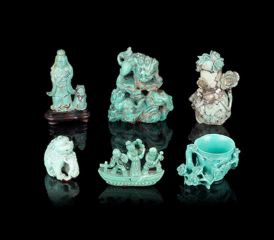 Six turquoise carvings