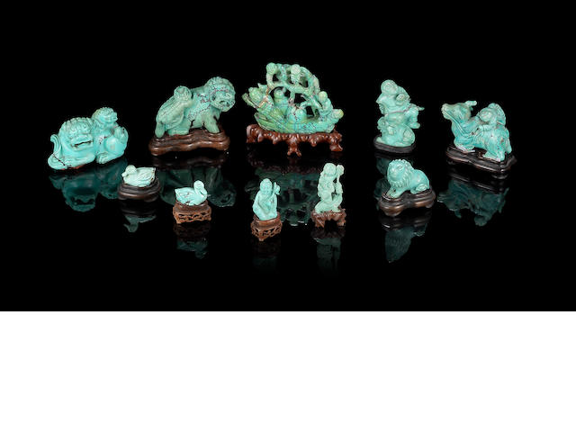 A collection of ten turquoise carvings