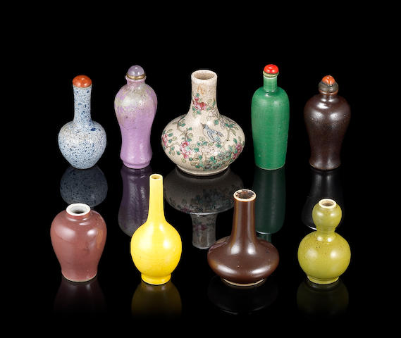 A group of nine miniature vases or snuff bottles