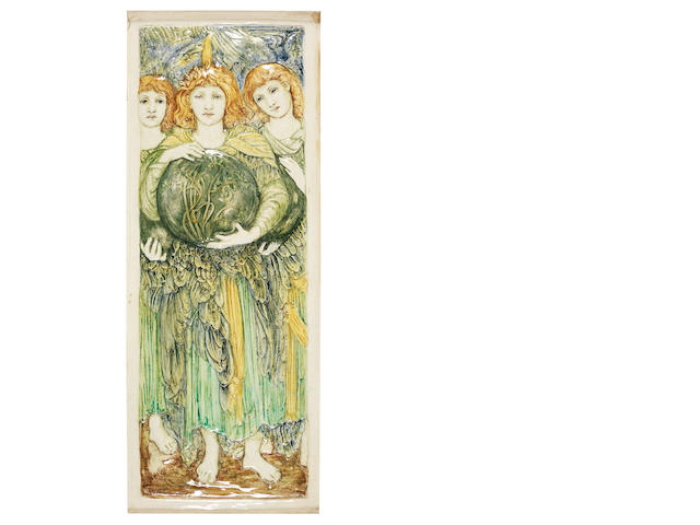 Marianne de Caluwé for Della Robbia 'Days of Creation - Day Three (after the design by Sir Edward Coley Burne-Jones)' a Rare Tile Low-relief Panel, 1906