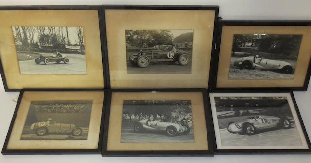 Assorted framed motorsport photographs,