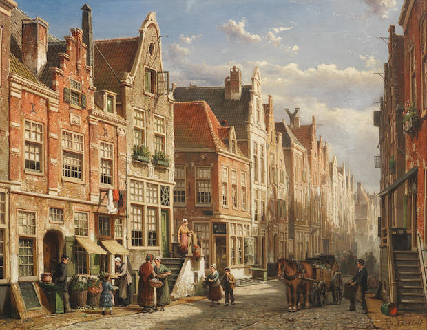 Willem Koekkoek, Street Scene Amsterdam, oil on canvas