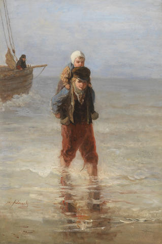Jozef Israels, Wading Ashore, oil on panel