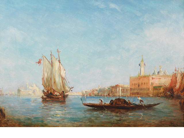 Feliz Ziem,Venetian View, oil on canvas