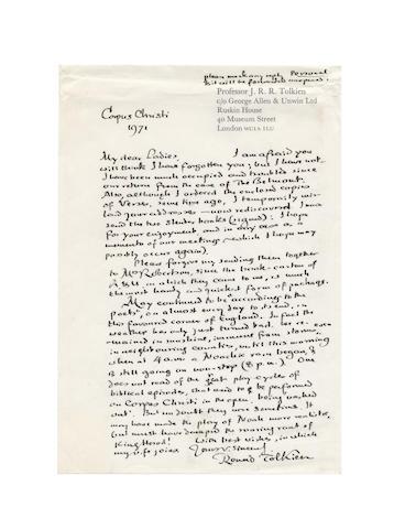 TOLKIEN (J.R.R.) Autograph Letter signed, 1971