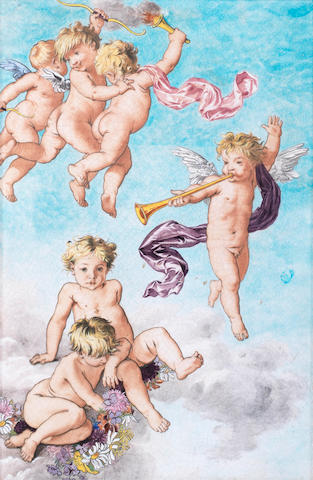 Theodore Deck Cherub ceramic plaque