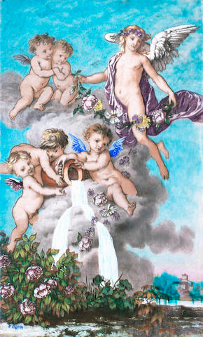 A large Theodore Deck Cherub ceramic plaque