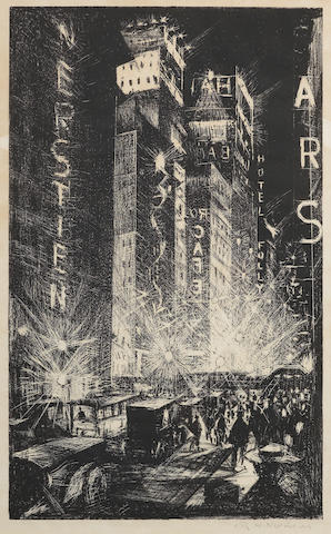 Christopher Richard Wynne Nevinson A.R.A. (British, 1889-1946) The Great White Way (Leicester Galleries 54) The rare lithograph, 1920, on laid, signed in pencil, also titled in pencil in lower margin, from the edition of 25, with margins, 503 x 305mm (19 3/4 x 12in)(I)