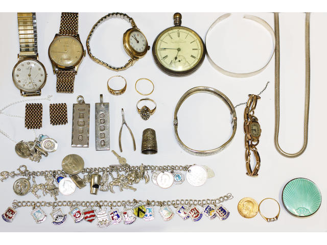 A collection of jewellery in a silver box