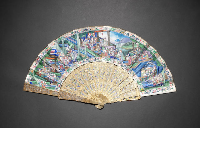 A Cantonese sixteen-stick, filigree fan 19th century