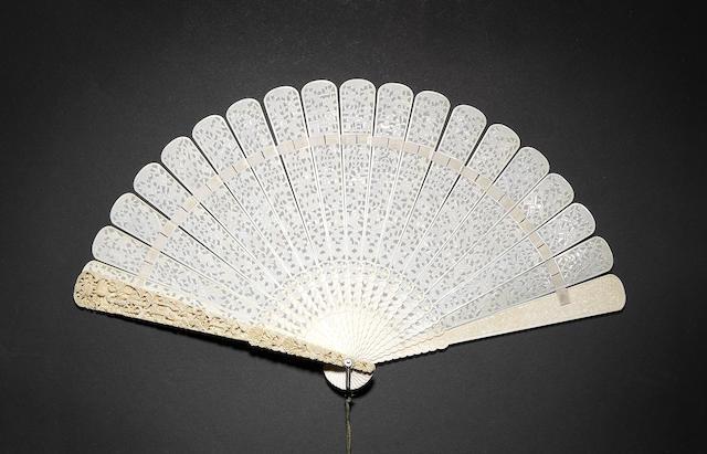 A Cantonese, twenty-stick ivory fan 19th century