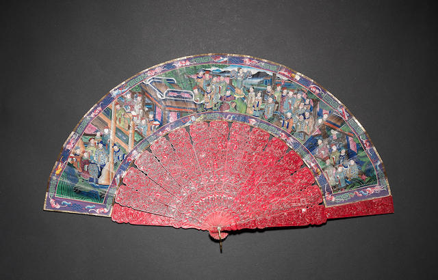 A Cantonese fifteen-stick, stained ivory fan 19th century