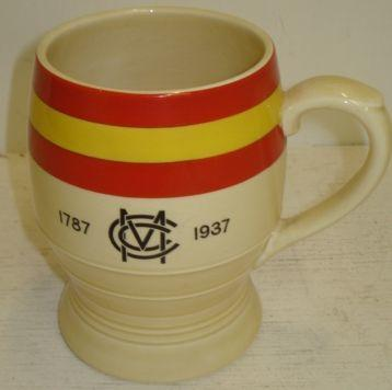 Of Cricketing Interest:  a Mintons MCC 1787-1937 barrel shape mug, with banded decoration,13cm.
