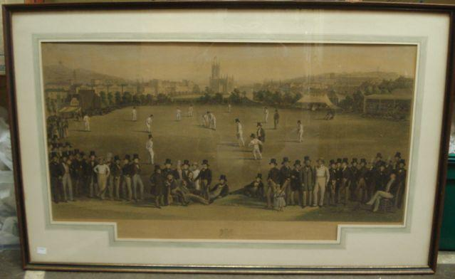Of Cricketing Interest:  G H Phillips after William Drummond & Charles J Basebe, The Cricket Match between Sussex and Kent at Brighton 1843, hand coloured engraving, with key to the reverse, 50 x 91cm.