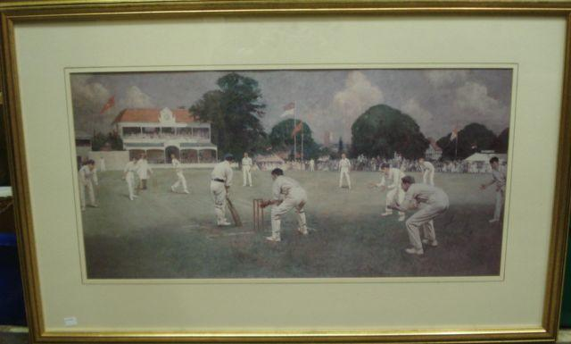 Of Cricketing Interest: After Albert Chevallier Taylor Kent v Lancashire at Canterbury in 1906, coloured reproduction, with a key to the reverse,40 x 81cm.