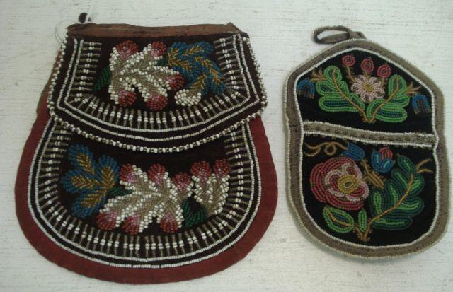 An Iroquois velvet and beadwork bag, An Iroquois velvet beadwork bag,circa 1900, 18cm, and a smaller similar.(2)