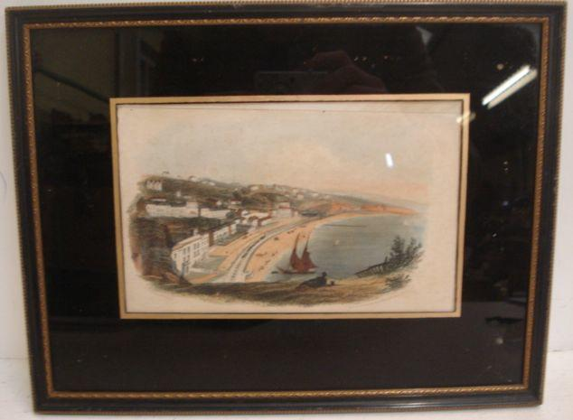 A collection of four engravings of Dawlish, three hand coloured, from circa 1820, onwards, in verre eglomise mounts.