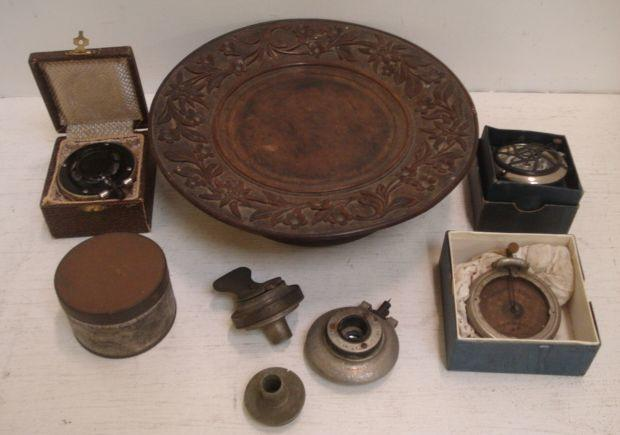 A novelty musical circular wooden fruit stand, with foliate carved border, 26cm, a musical box movement, and various gramophone styliss, two in original fitted cases one for an Edison Phonograph.