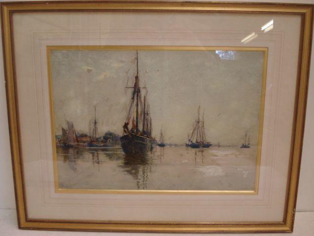Nathaniel Hughes John Baird (British, 1865-1936) High Tide, Topsham 27 x 38.5cm.