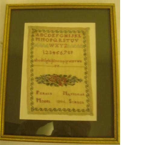 A small cross stitch sampler on linen, by the Fehale National Model School 1846, worked with alphabet numbers and flowers,17.5 x 13cm.