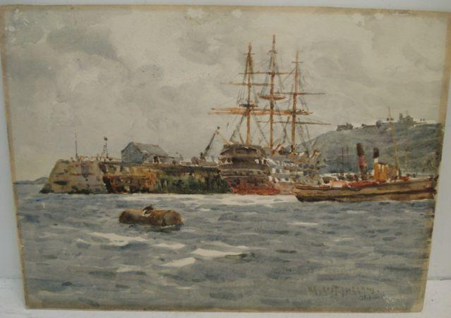 William Ayerst Ingram (British, 1855-1913) Ships at the Quay signed and dated 15.6.06, watercolour, 26.5 x 36.5cm. included in a folder with 28 loose drawings, watercolours, prints and an oil, together with an album containing 22 drawings, watercolours and prints.