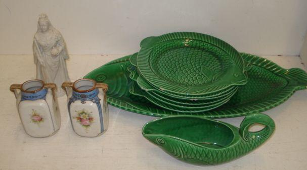 A Sarreguemines green glazed pottery fish service, platter, six plates and sauce boat, a pair of Noritake vases and a Parian figure of Queen Victoria.