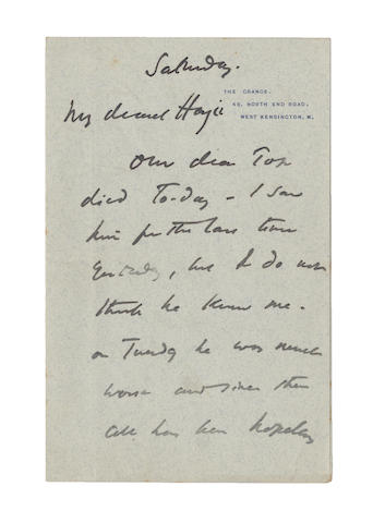 BURNE JONES (EDWARD) Autograph letter signed, 1896