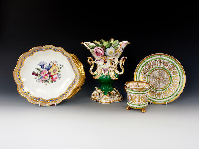 A Coalbrookdale vase, a Coalport shell dish and an English porcelain cabinet cup and saucer, circa 1830-50
