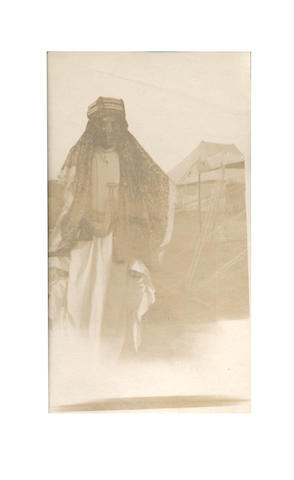 """LAWRENCE OF ARABIA AT AKABA. Photograph album belonging to an airman with No. 1 Squadron of the Australian Flying Corps, serving in the Palestine Campaign, including a snapshot of """"Major Lawrence, C.B./ Akaba. Dec. '17"""", 1917"""