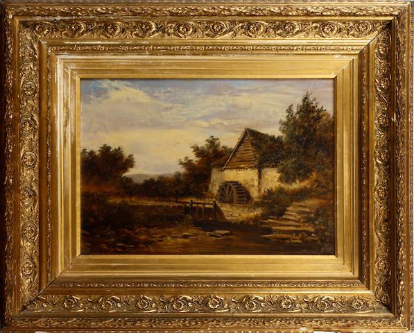 Arthur Wilde Parsons (British, 1854-1931) Landscape with watermill