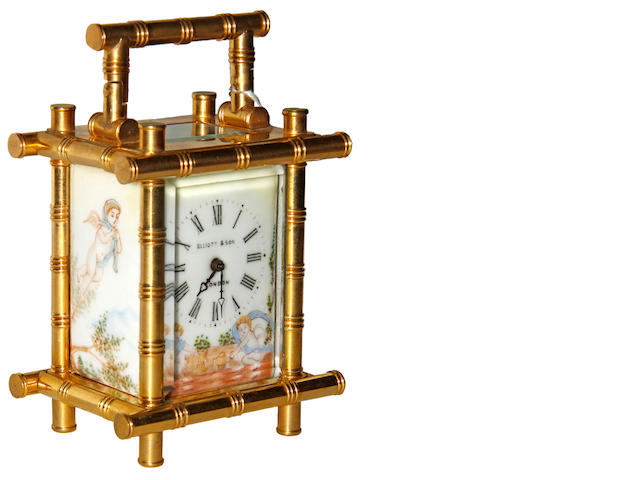 A modern brass carriage clock with enamel panels Elliot & Son, London