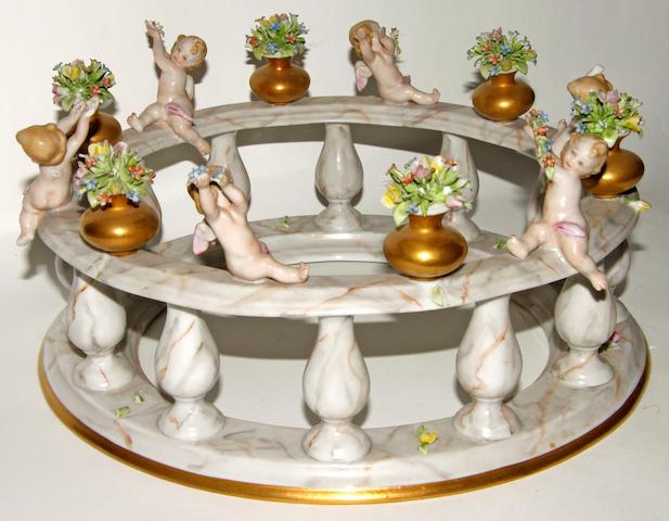 A Capodimonte porcelain circular stand
