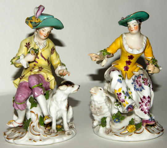 A pair of continental porcelain figures