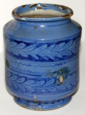 A pottery Delft blue glaze drug jar