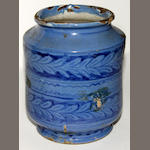 A pottery Delft blue glaze drug jar