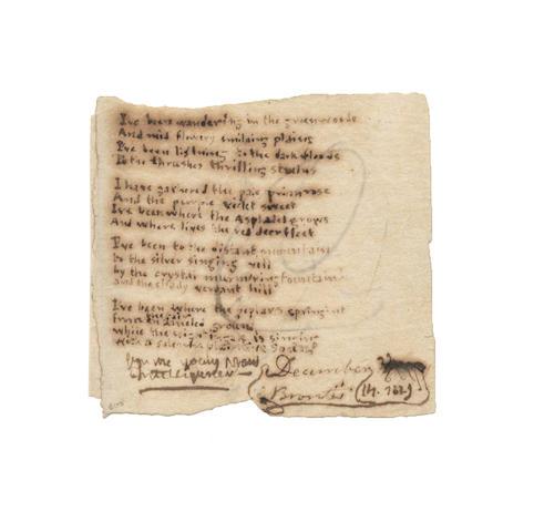 BRONTË, CHARLOTTE (1816-1855), AUTOGRAPH MANUSCRIPT POEM WRITTEN IN HER MINUSCULE HAND SIGNED 'C. BRONTE', [Haworth Rectory], 14 December 1829