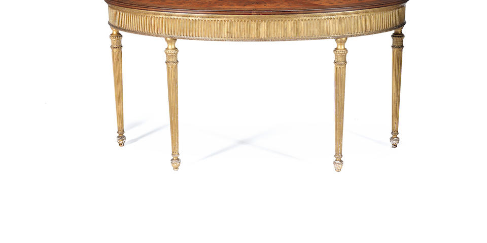 A pair of Irish harewood, marquetry and giltwood pier tables by James Hicks of Dublin