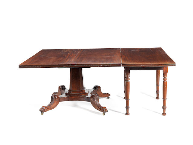 A late Regency Irish mahogany part dining table