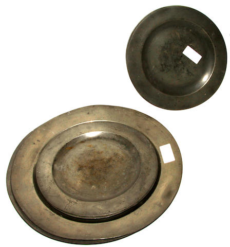 Six various 18th century peweter plates