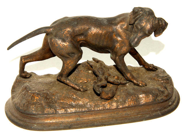 After Moigniez: a bronze model of a dog