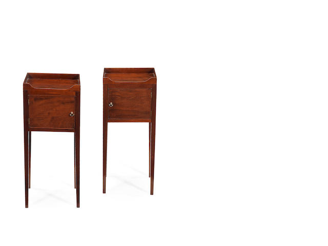 A pair of Geo III bedside cupboards