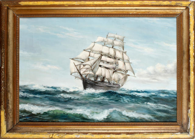 English School, 20th Century A clipper in choppy seas
