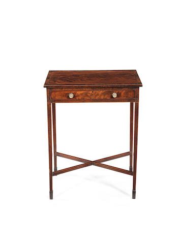 A late George III flame mahogany, sycamore and rosewood banded side table