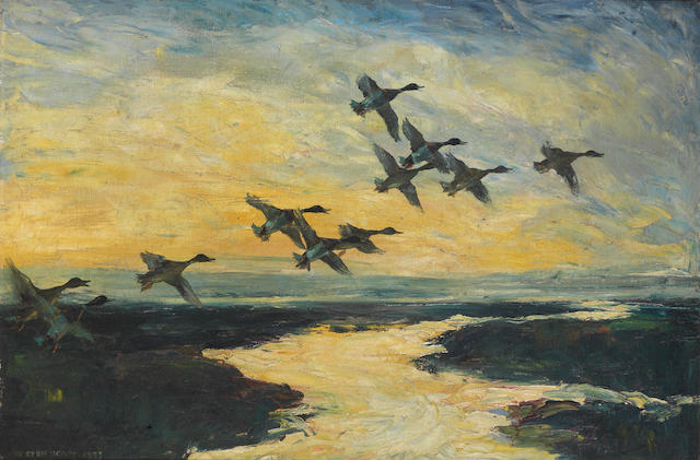 Sir Peter Scott (British, 1909-1989) Mallards in flight