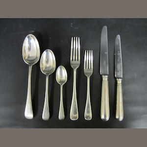 A modern silver Old English pattern matched canteen for twelve settings Various makers and dates, predominately London 1938