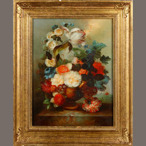 Continental School, .  20th century Still life with flowers, a pair each 40.5 x 30.5cm (15 15/16 x 12 in).(2)