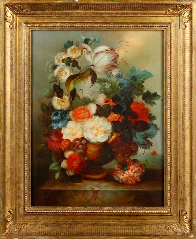 Continental School, <BR /> 20th century Still life with flowers, a pair each 40.5 x 30.5cm (15 15/16 x 12 in).(2)